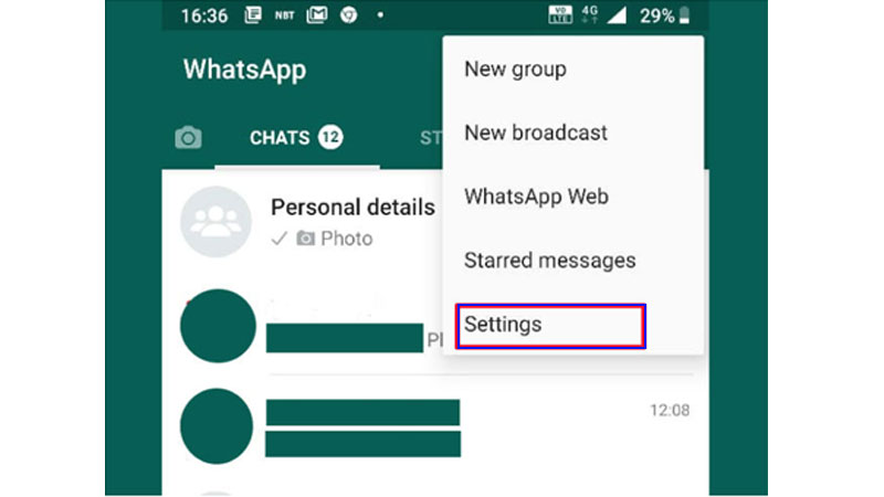 Whatsapp settings