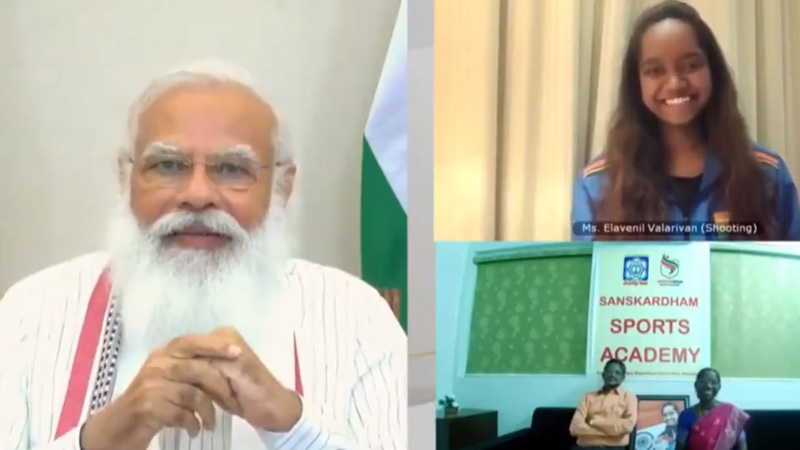 pm modi interacts with Olympic 2021 qualifiers, parents from gujarat joined from sanskar dham sports academy