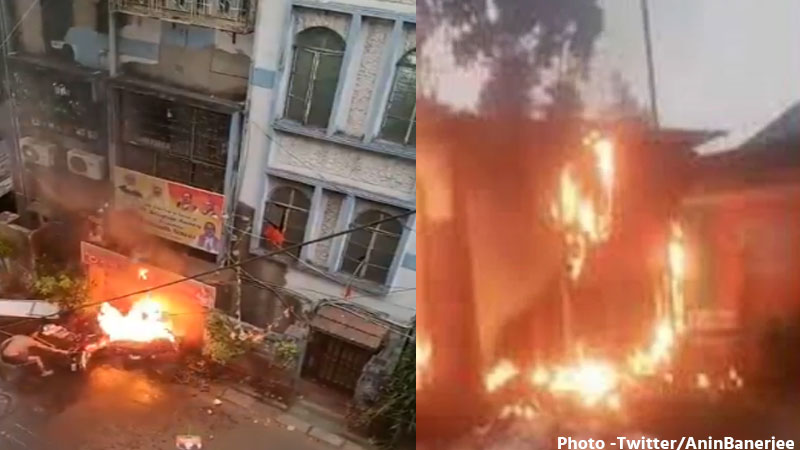 west-bengal-hooghly-fire-in-bjp-office-violence-after-tmc-mamata-banerjee-s-victory
