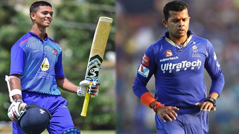 a 19 year old boy makes a blast by his batting, splash out Sreesanth who had comeback after 7 years