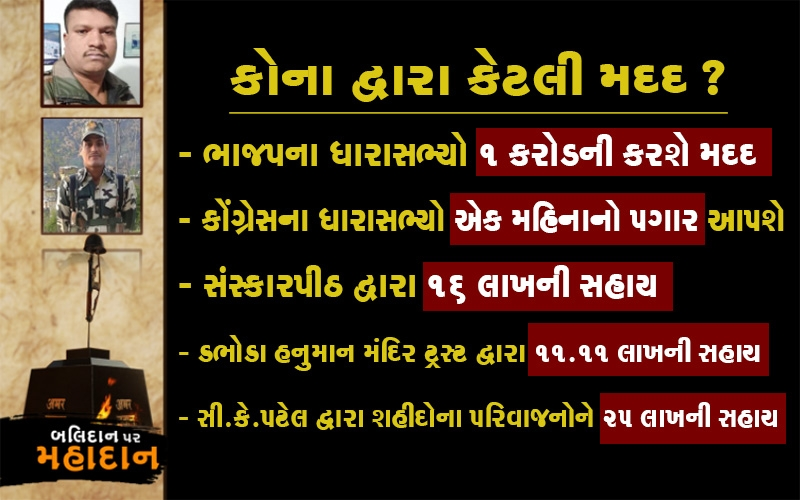 શહીદોના પરિવારોની મદદ માટે ગુજરાતના નેતાઓ પણ આગળ આવ્યા  જાણો કોણે કેટલી કરી?