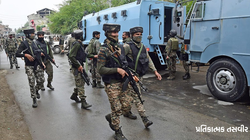 encounter With Terrorists In Srinagar, Terrorists Firing At The Barrier In Panthachowk