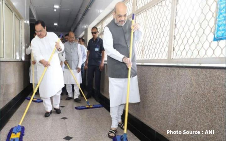BJP Amit Shah sweeps floor at AIIMS for PM Modi's birthday week, seva saptah