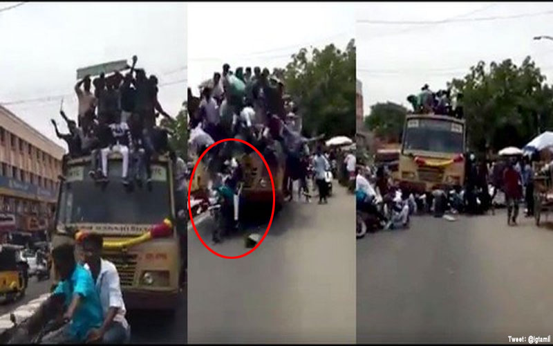 Chennai college students fall off bus roof while celebrating bus day