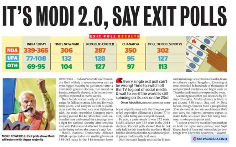 PM Narendra Modi exit poll report being published in all foreign media