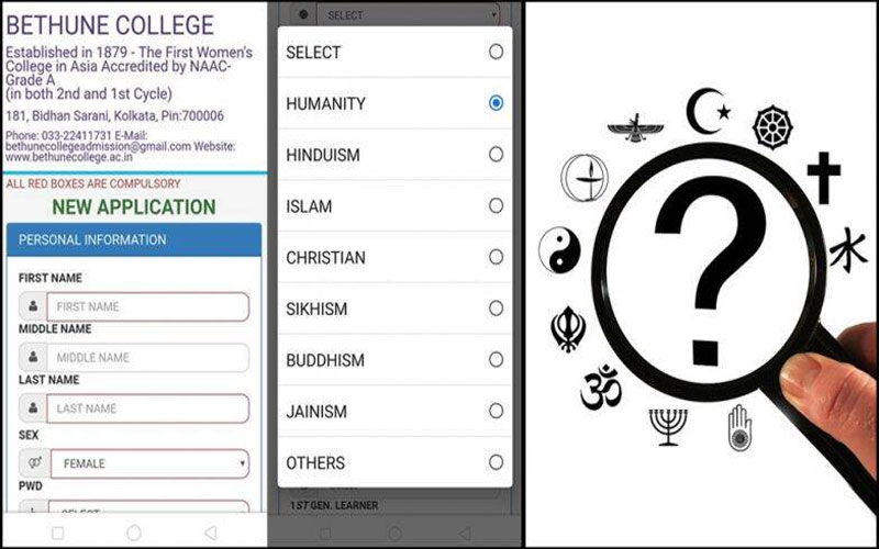 Bethune college Kolkata introduces humanity as an option in religion category