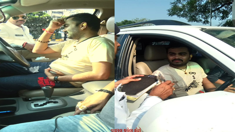 what happened with Jignesh Kaviraj  it so that the police stopped his car on the way ...