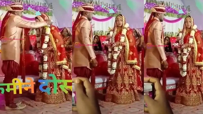 viral wedding video angry bride look at groom friend trending video