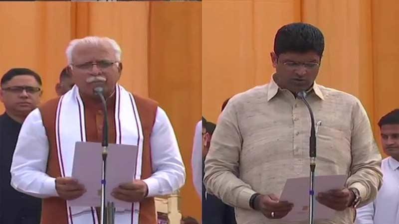 manohar lal khattar and dushyant chautala takes oath