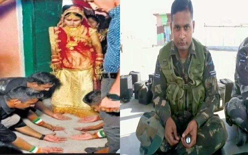 Martyr Jyoti prakash nirala's friends garud commandos make newly married sister walk on their palms