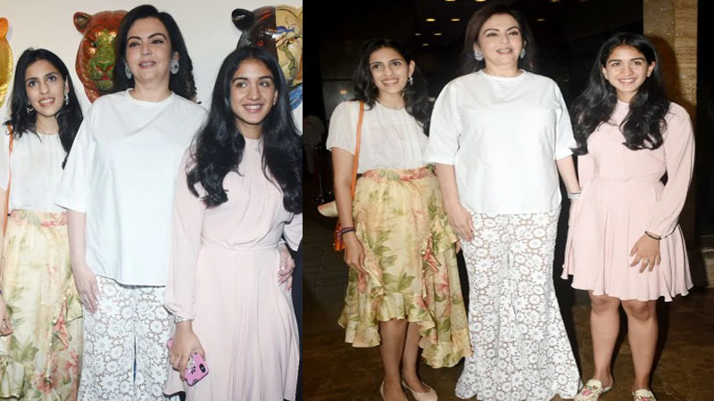 Nita Ambani Shloka Mehta Radhika Merchant Spotted At Exhibition In Mumbai