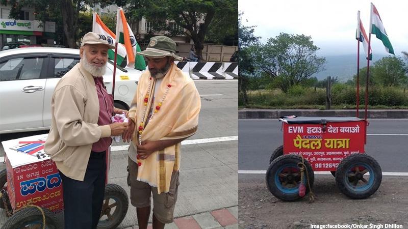 omkar singh dhillon walked 6500 km to bna evm