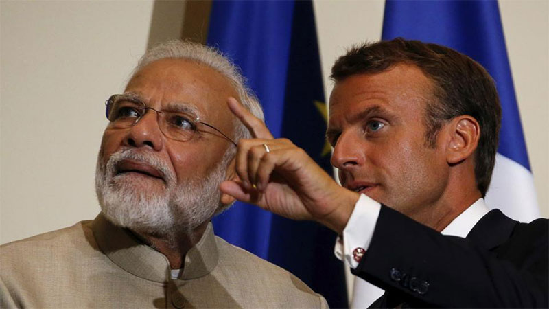 G7 Summit: PM Narendra Modi With Emmanuel Macron Edouard Philippe Release Joint Statement In France
