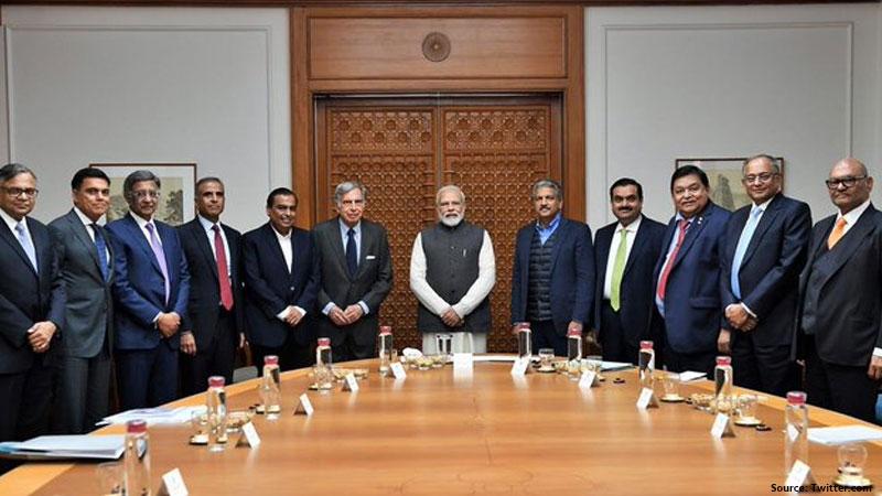 pm modi meets indias top 11 industrialist ratan tata mukesh ambani and gautam adani For Economy