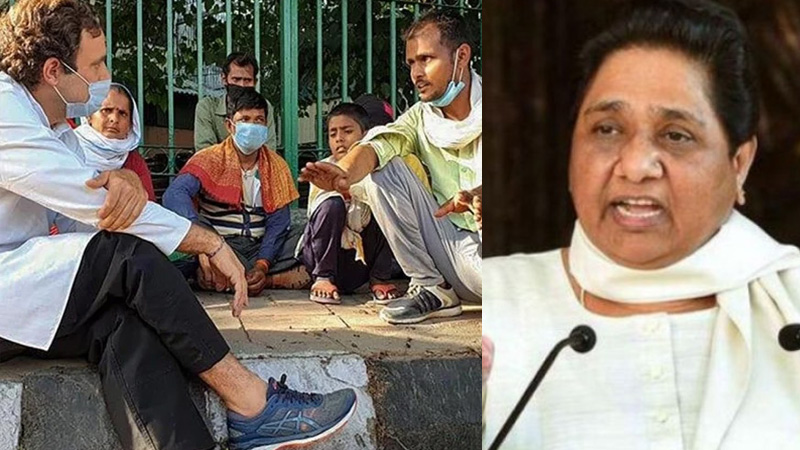 mayawati lashes out at rahul gandhi for sharing video of workers
