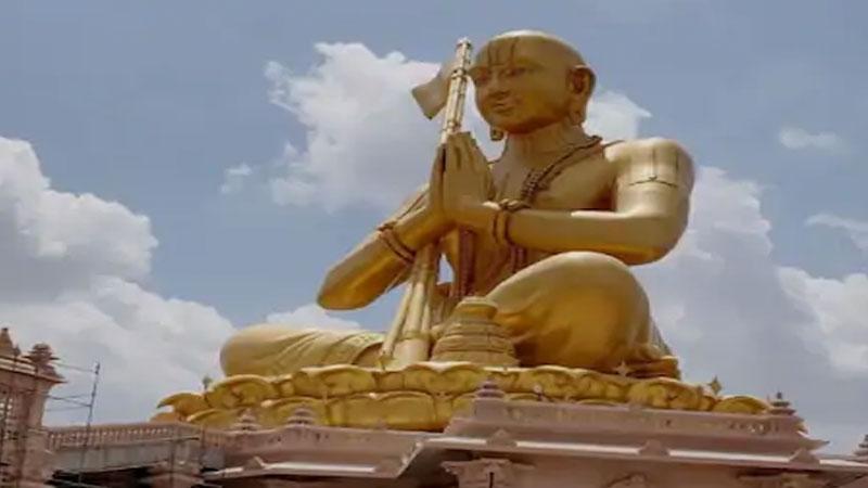 vaishnavaite saint bhagavad ramanujacharya 120 kg gold statue of equality grand temple in taminadu hyderabad