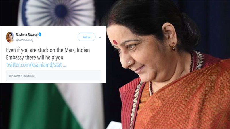 Even if you are stuck on Mars, Indian Embassy will help you: Sushma Swaraj