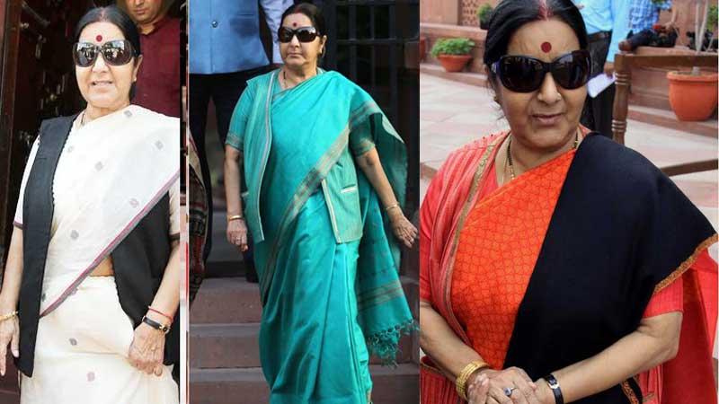Former external affairs minister Sushma swaraj like silk saree