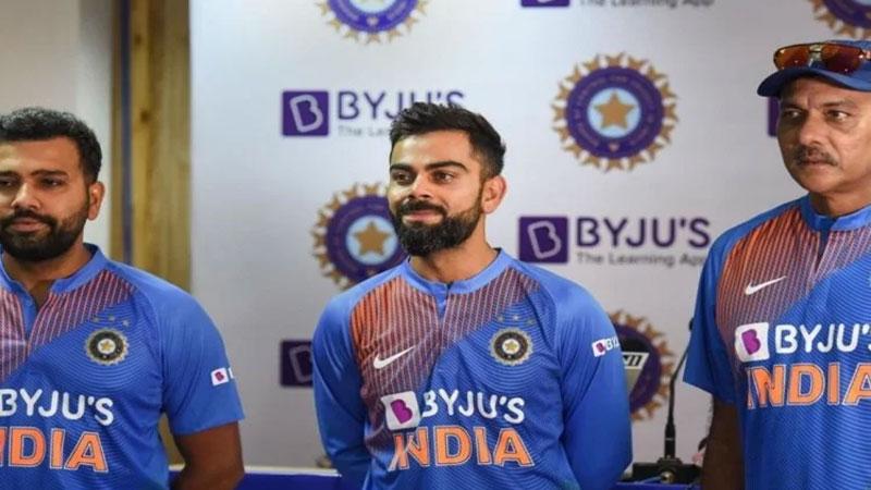 Virat Kohli Ravi Shastri And Rohit Sharma Unveil New Jersey Of Team India