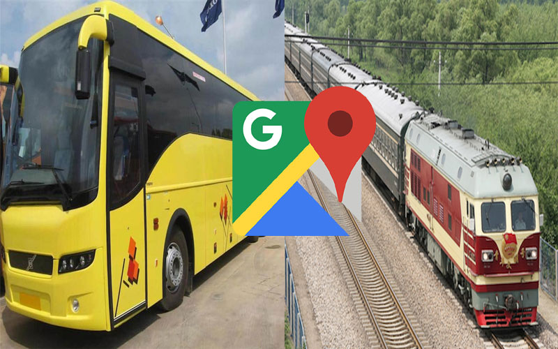Google maps will show live locations of bus and train running status