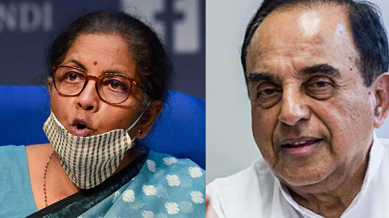 decline in gdp from 8  to 3 1 pre C0vid is also an act of god asks bjp mp subramanian swamy to fm nirmala sitharaman