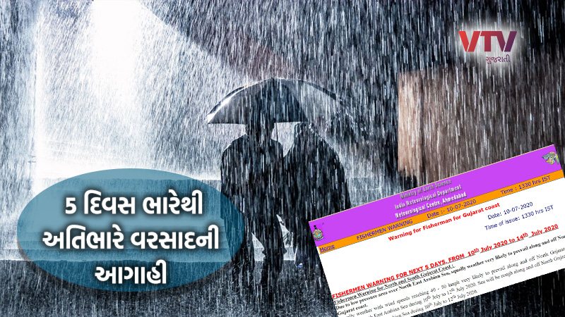 monsoon 2020 rain in Gujarat weather forecast for 10th to 15th July heavy rain