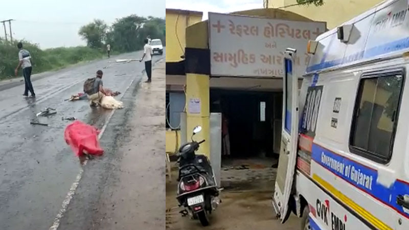four died in accident between trailer and car near mathal village of nakhtarana kutch