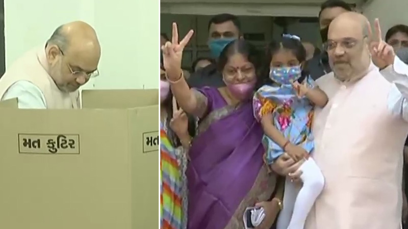 Amit Shah along with his family members casts his vote at Naranpura Sub Zonal Office in Ahmedabad