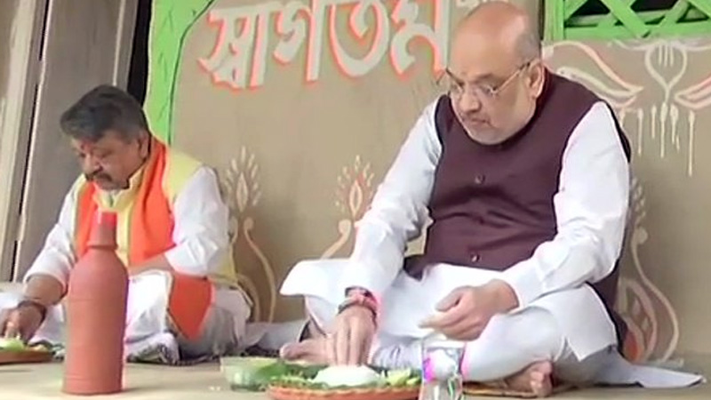 Amit shah in west bengal lunch at farmer house