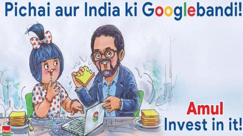 amul shares googlebandi tweet on google ceo sundar pichai  10 billion investment in india