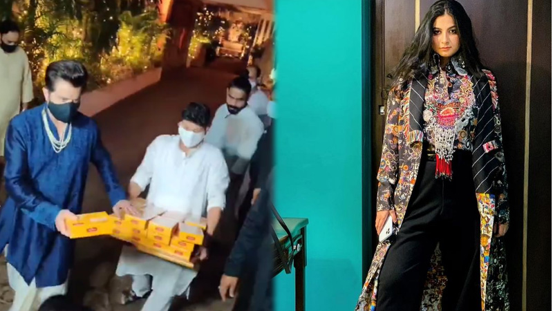 Family members arrive at Anil Kapoor daughter wedding actors seen distributing sweets in traditional dress