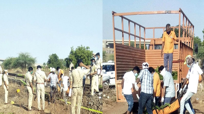 Maharashtra Train runs over a dozen migrant workers