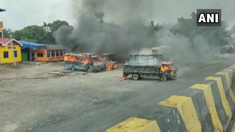 a vehicles set on fire after alleged gang rape and murder of a girl in bengal
