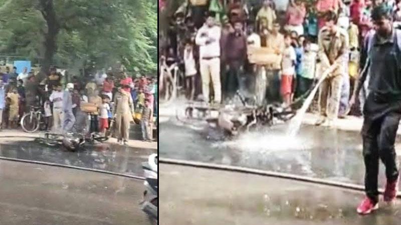 delhi man bike fires after fine new traffic rules