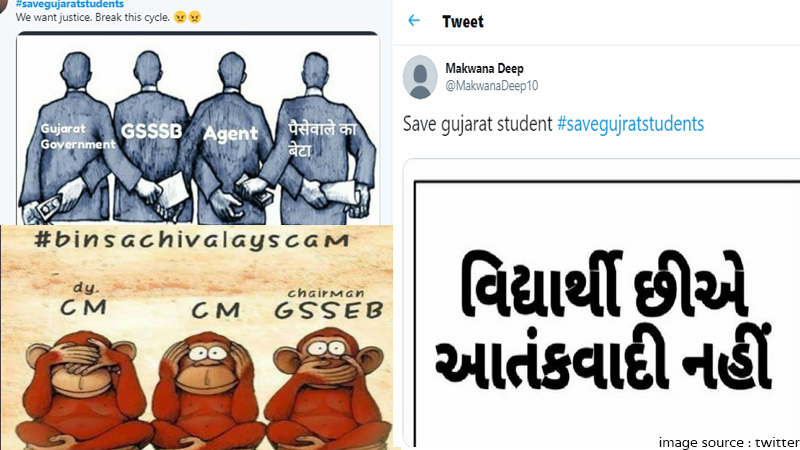 binsachivalay exam protest  over 2 lakh tweets on twitter hashtag savegujratstudents is trending