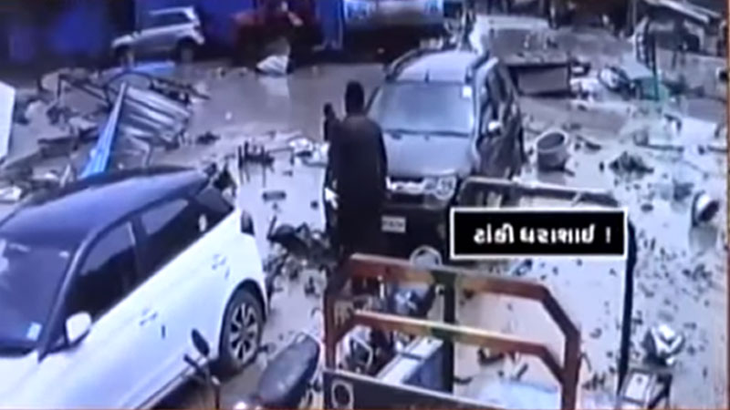 Water tank collapses in Bopal CCTV footage ahmedabad