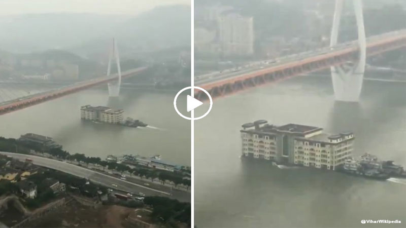 Video of five-storey 'building' floating across China river
