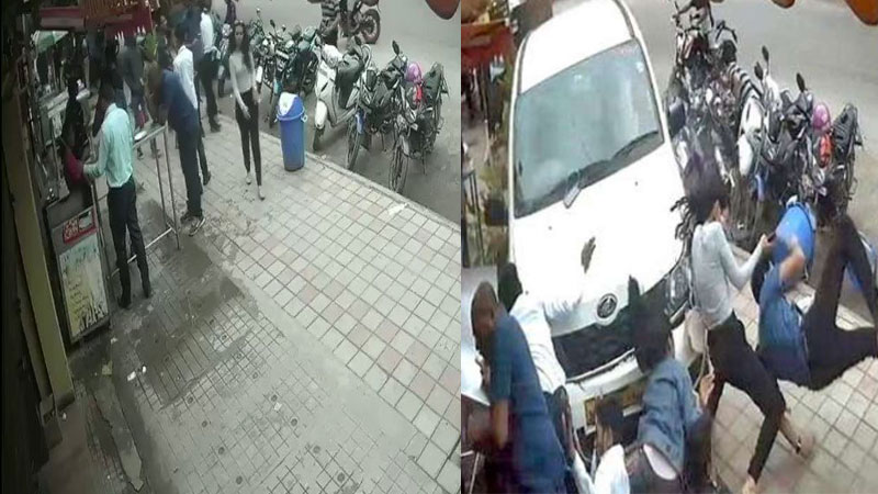 Bengaluru car accident drunk person drove his car on footpath at hsr layout locality
