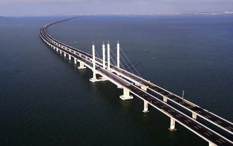 china is building a unique bridge over the sea and in tunnels in the water