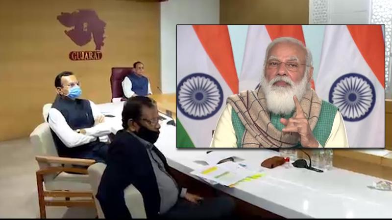 pm modi meeting with chief minister vijay rupani corona vaccine gujarat