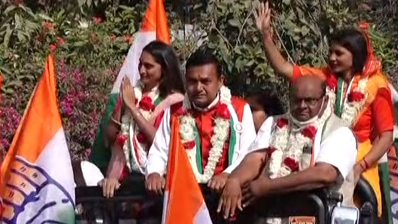 congress party didi rallies in different cities in gujarat amid local body election