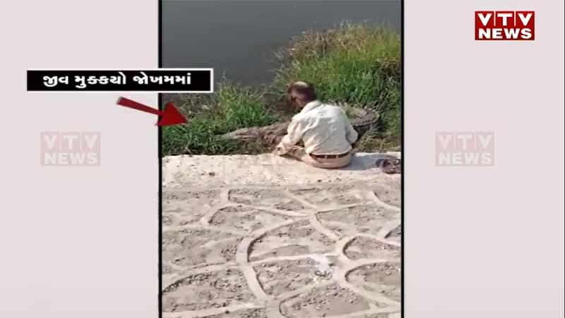 This guy was talking to a crocodile for 15 minutes in Vadodara