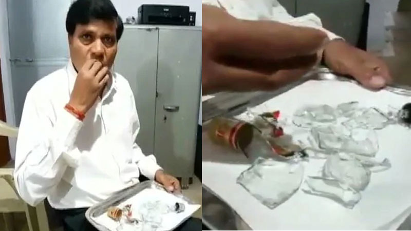Dayaram Sahu eating glass since last 45 years in Madhya Pradesh