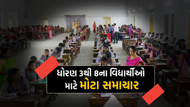 Gujarat education department ordered all schools standard 3 to 8 students exams