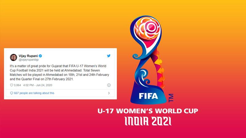 u17 woman football world cup Seven matches ahmedabad cm rupani