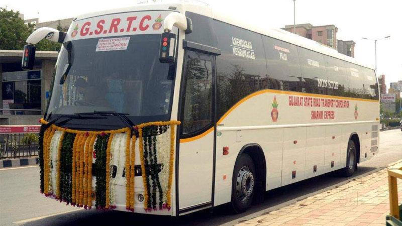 coronavirus gujarat gsrtc st bus start government