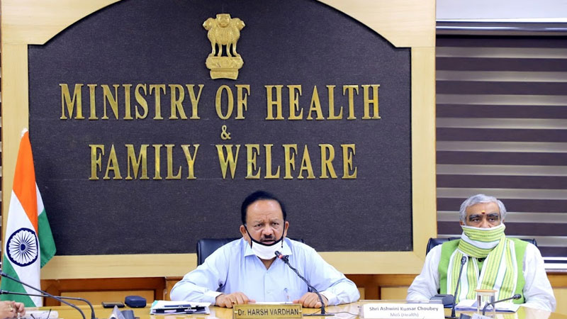 dr harsh vardhan chaired a high level meeting to review the situation of coronavirus covid19 situation and vaccination