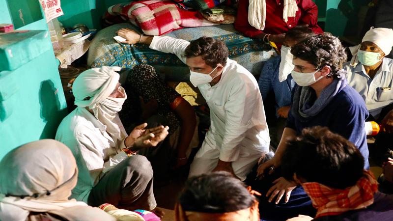 hathras gangrape case rahul gandhi priyanka gandhi attacks yogi government cheque victim family