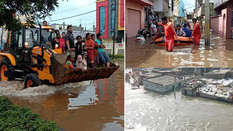 Waterlogging in several parts of Hyderabad after heavy rains
