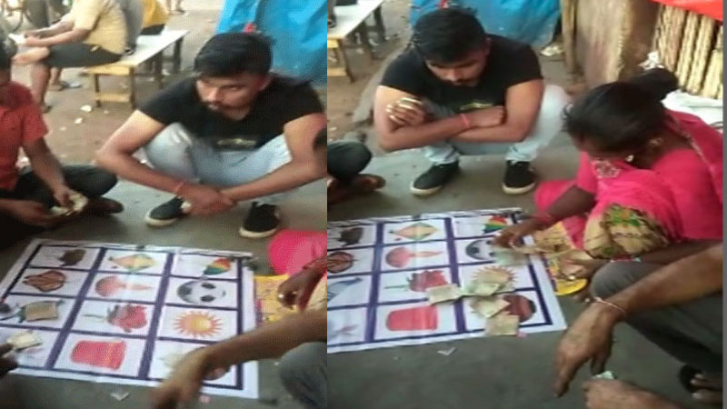 gujarat near Surat police station gambling on road video goes viral gujarat